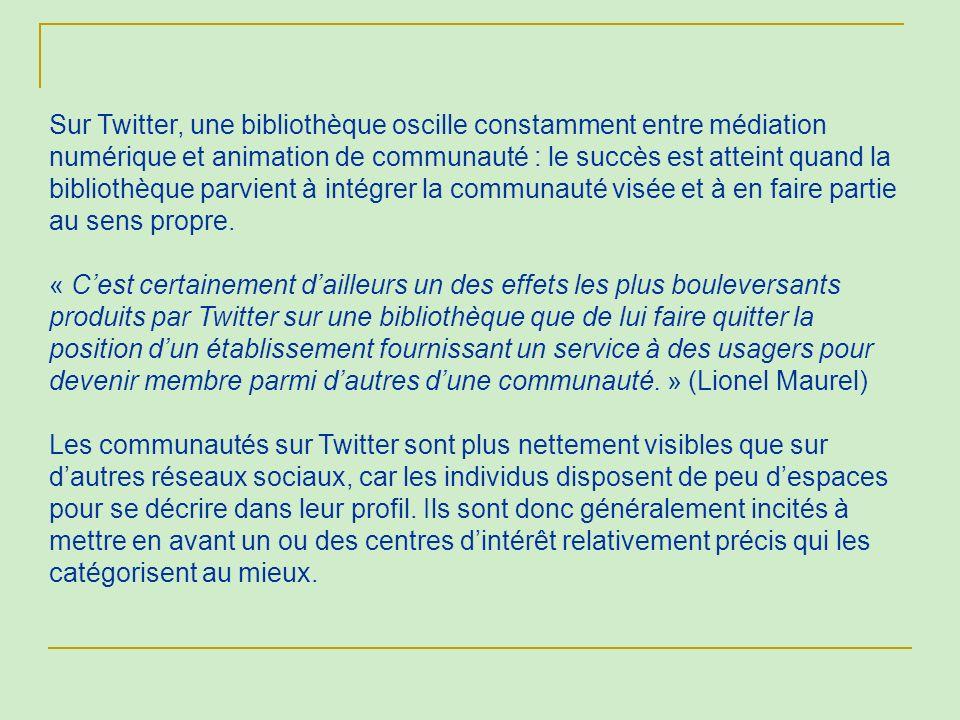 Sur Twitter, une bibliothèque oscille constamment entre médiation numérique et animation de communauté : le succès est atteint quand la bibliothèque p