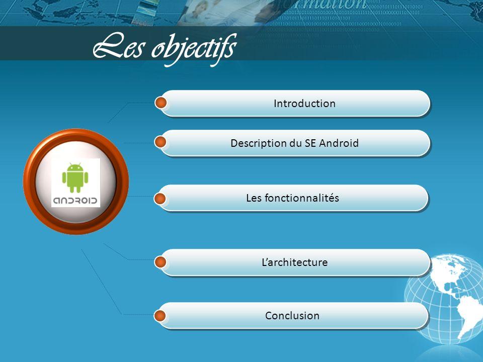 Introduction Description du SE Android Les fonctionnalités Larchitecture Les objectifs Conclusion