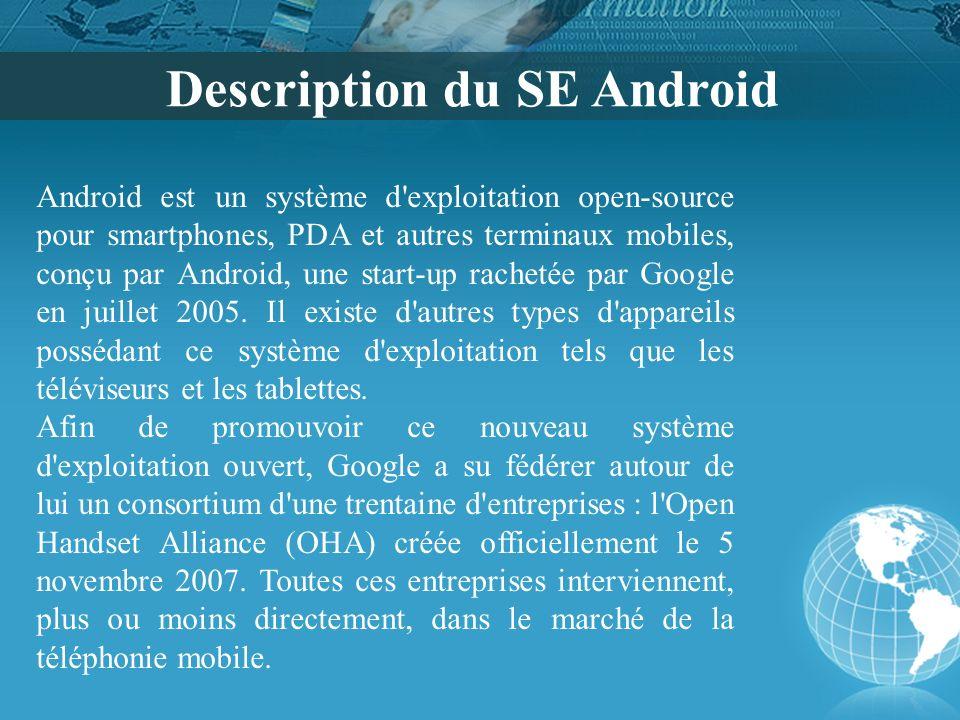 Description du SE Android Android est un système d'exploitation open-source pour smartphones, PDA et autres terminaux mobiles, conçu par Android, une