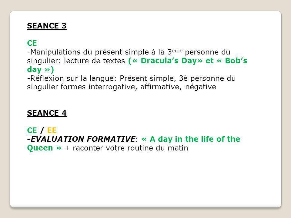 SEANCE 3 CE -Manipulations du présent simple à la 3 ème personne du singulier: lecture de textes (« Draculas Day» et « Bobs day ») -Réflexion sur la l