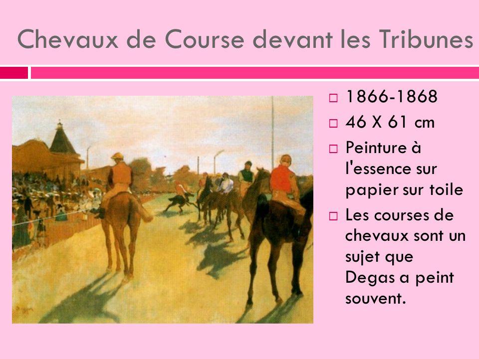 Chevaux de Course devant les Tribunes 1866-1868 46 X 61 cm Peinture à l essence sur papier sur toile Les courses de chevaux sont un sujet que Degas a peint souvent.