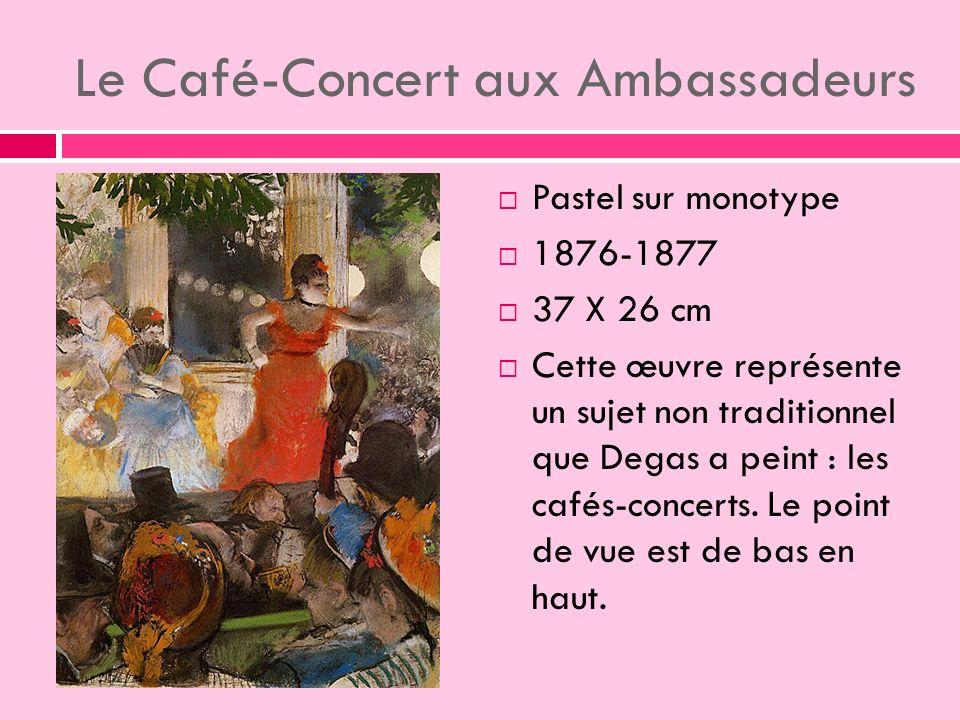 Le Café-Concert aux Ambassadeurs Pastel sur monotype 1876-1877 37 X 26 cm Cette œuvre représente un sujet non traditionnel que Degas a peint : les cafés-concerts.