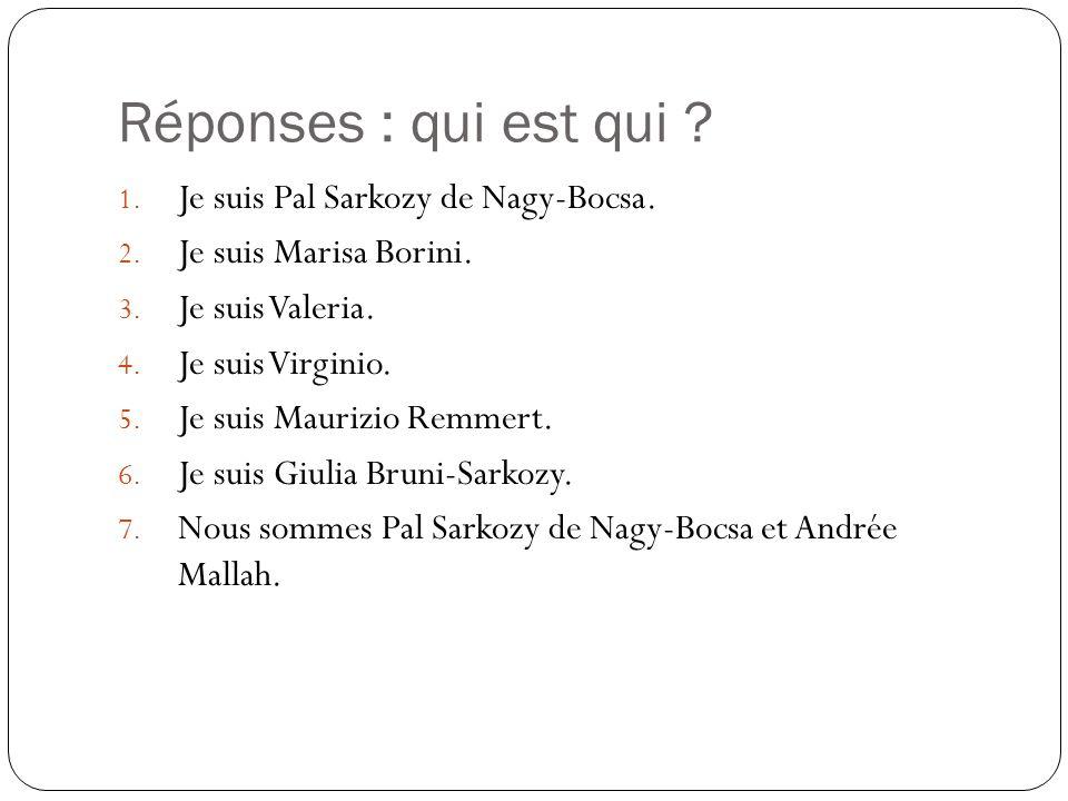 Réponses : qui est qui .1. Je suis Pal Sarkozy de Nagy-Bocsa.