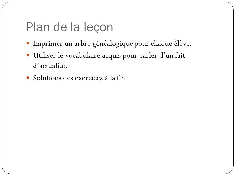 Plan de la leçon Imprimer un arbre généalogique pour chaque élève.