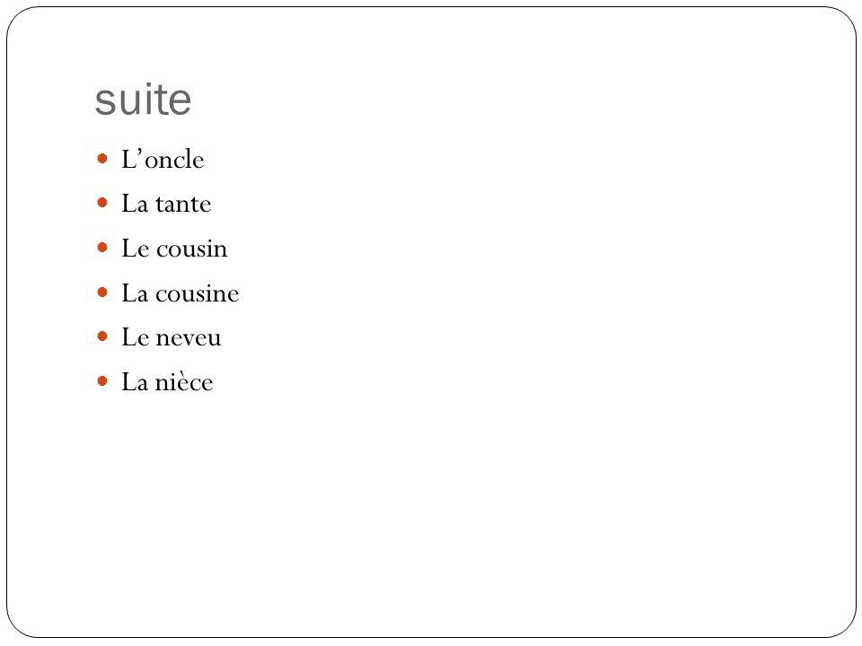 suite Loncle La tante Le cousin La cousine Le neveu La nièce