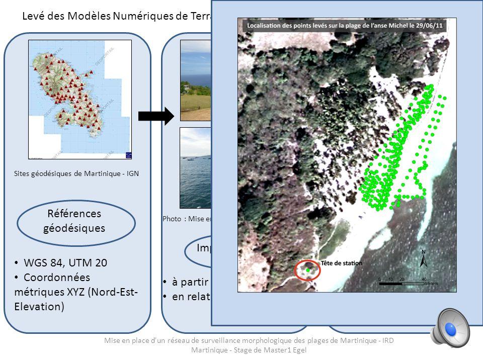 Localisation des profils de plage martiniquais 26 plages 53 profils Moyens : Tachéomètre laser - Leica TS06 Têtes de station : Géoréférencement au GPS