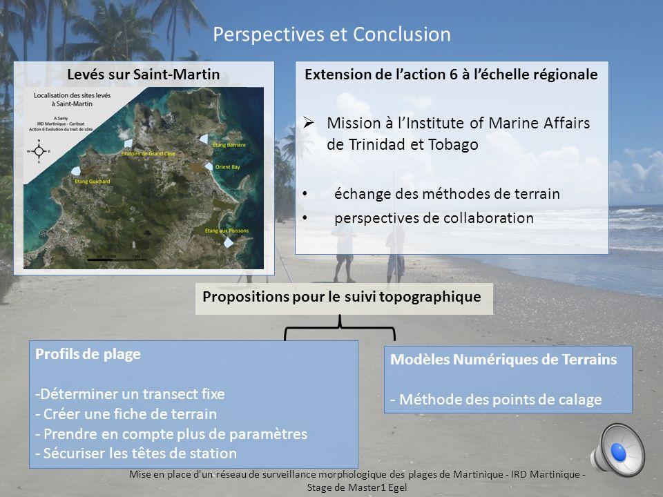 6 Mise en place d'un réseau de surveillance morphologique des plages de Martinique - IRD Martinique - Stage de Master1 Egel Traitement et Résultats Te