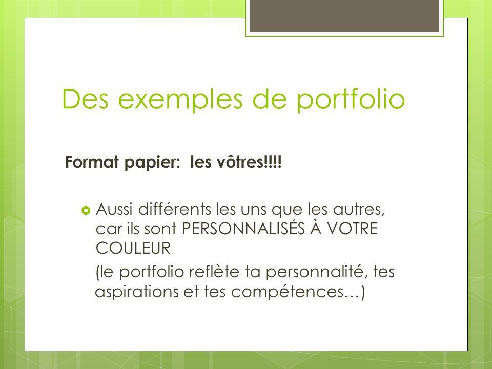 Des exemples de portfolio Format papier: les vôtres!!!! Aussi différents les uns que les autres, car ils sont PERSONNALISÉS À VOTRE COULEUR (le portfo