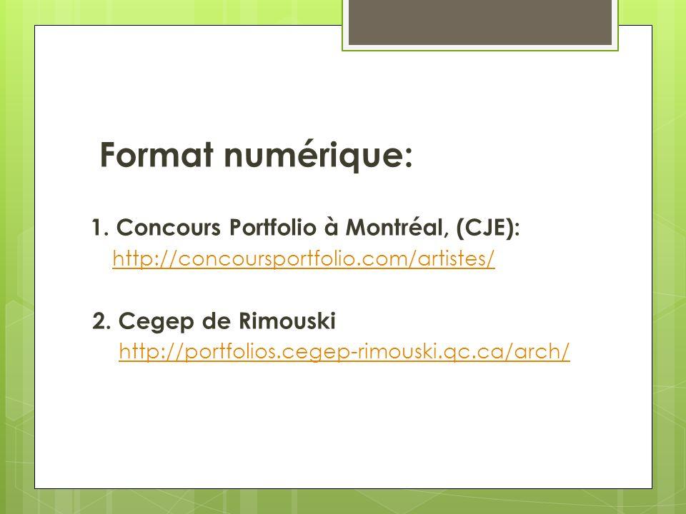 Format numérique: 1. Concours Portfolio à Montréal, (CJE): http://concoursportfolio.com/artistes/ 2. Cegep de Rimouski http://portfolios.cegep-rimousk