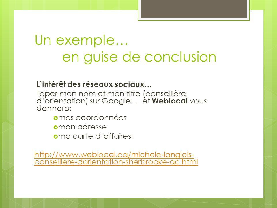 Un exemple… en guise de conclusion Lintérêt des réseaux sociaux… Taper mon nom et mon titre (conseillère dorientation) sur Google…. et Weblocal vous d