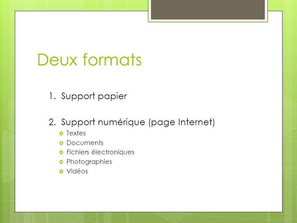 Deux formats 1. Support papier 2. Support numérique (page Internet) Textes Documents Fichiers électroniques Photographies Vidéos