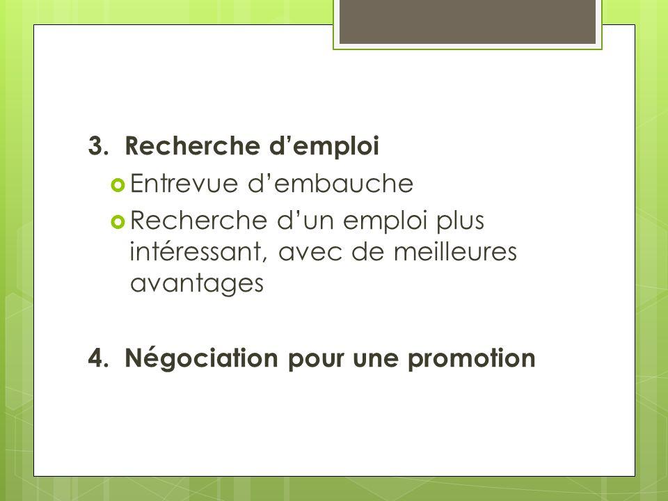 3. Recherche demploi Entrevue dembauche Recherche dun emploi plus intéressant, avec de meilleures avantages 4. Négociation pour une promotion