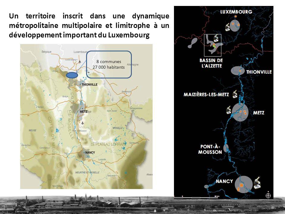 Un territoire inscrit dans une dynamique métropolitaine multipolaire et limitrophe à un développement important du Luxembourg 8 communes 27 000 habitants