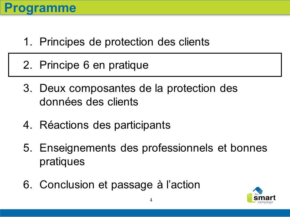 4 1.Principes de protection des clients 2. Principe 6 en pratique 3.