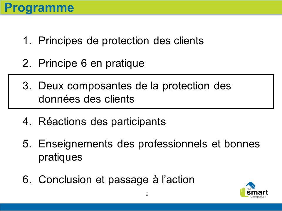 6 1.Principes de protection des clients 2. Principe 6 en pratique 3.