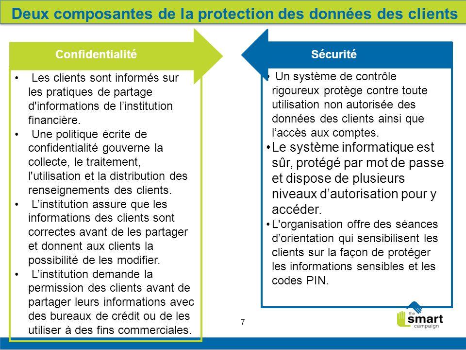 7 Privacy Les clients sont informés sur les pratiques de partage d informations de linstitution financière.