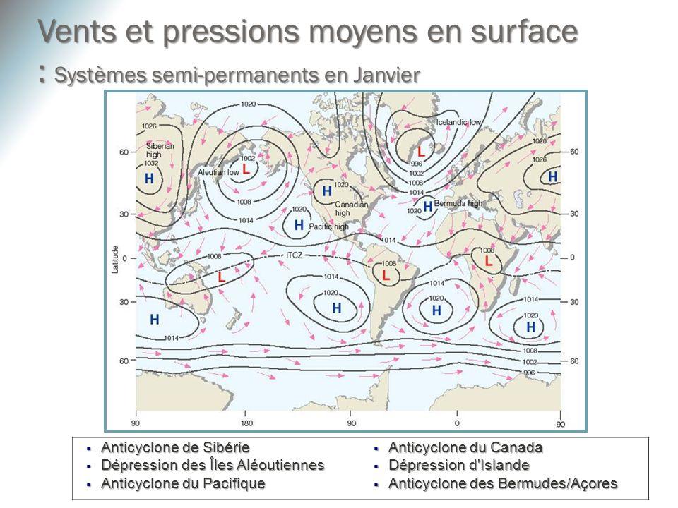 Anticyclone de Sibérie Anticyclone de Sibérie Dépression des Îles Aléoutiennes Dépression des Îles Aléoutiennes Anticyclone du Pacifique Anticyclone d