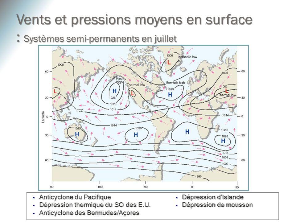 Anticyclone du Pacifique Anticyclone du Pacifique Dépression thermique du SO des E.U. Dépression thermique du SO des E.U. Anticyclone des Bermudes/Aço