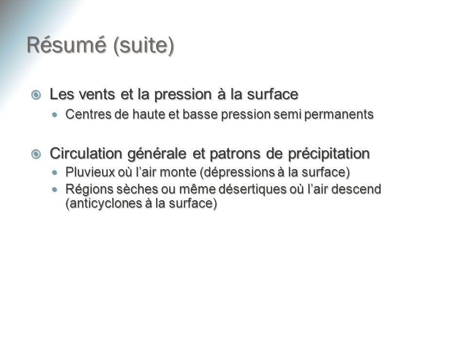 Résumé (suite) Les vents et la pression à la surface Les vents et la pression à la surface Centres de haute et basse pression semi permanents Centres