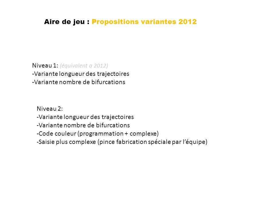 Aire de jeu : Propositions variantes 2012 Niveau 1: (équivalent a 2012) -Variante longueur des trajectoires -Variante nombre de bifurcations Niveau 2: