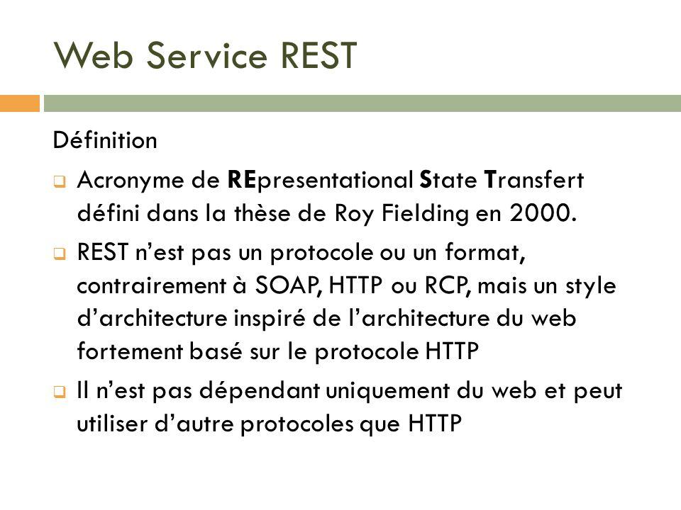 Web Service REST Définition Acronyme de REpresentational State Transfert défini dans la thèse de Roy Fielding en 2000. REST nest pas un protocole ou u