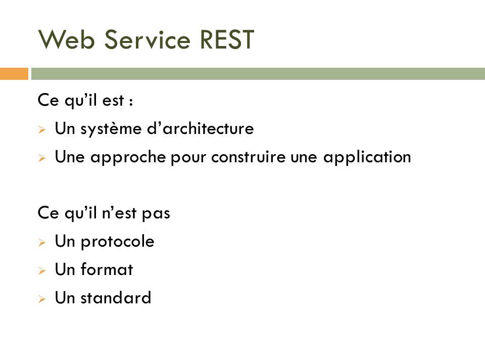 Web Service REST Ce quil est : Un système darchitecture Une approche pour construire une application Ce quil nest pas Un protocole Un format Un standa