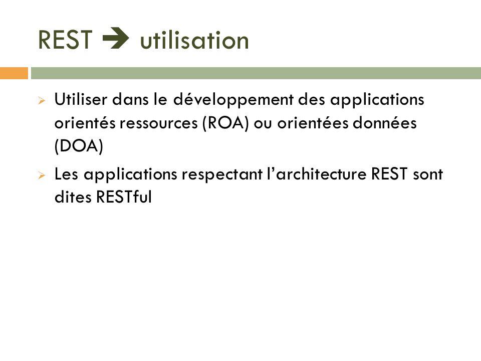 REST utilisation Utiliser dans le développement des applications orientés ressources (ROA) ou orientées données (DOA) Les applications respectant larc