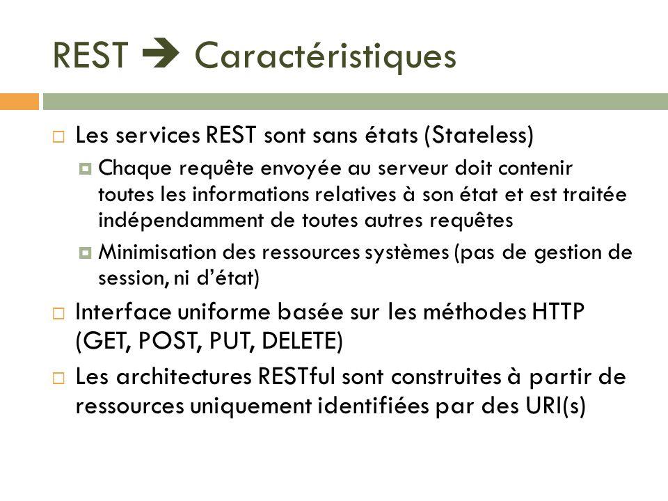 REST Caractéristiques Les services REST sont sans états (Stateless) Chaque requête envoyée au serveur doit contenir toutes les informations relatives