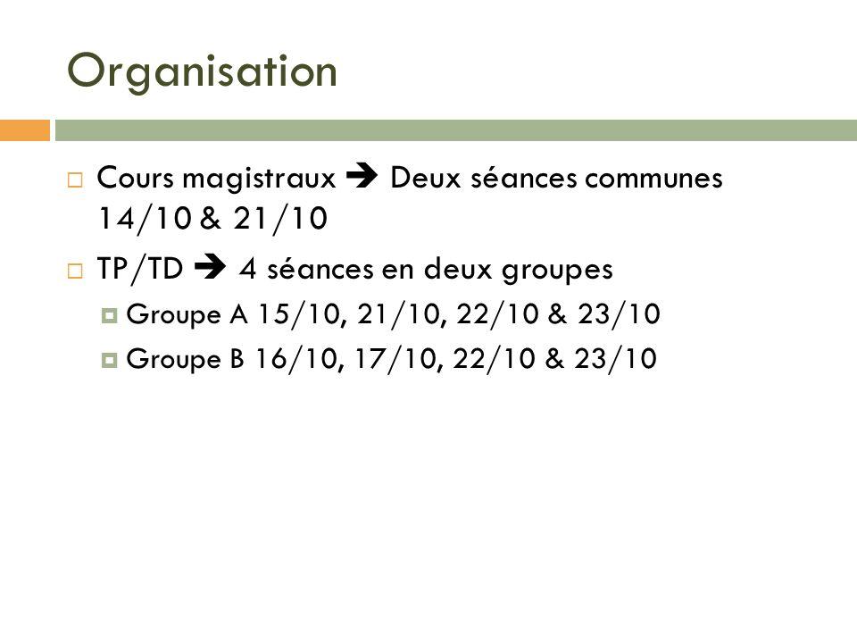 Organisation Cours magistraux Deux séances communes 14/10 & 21/10 TP/TD 4 séances en deux groupes Groupe A 15/10, 21/10, 22/10 & 23/10 Groupe B 16/10,