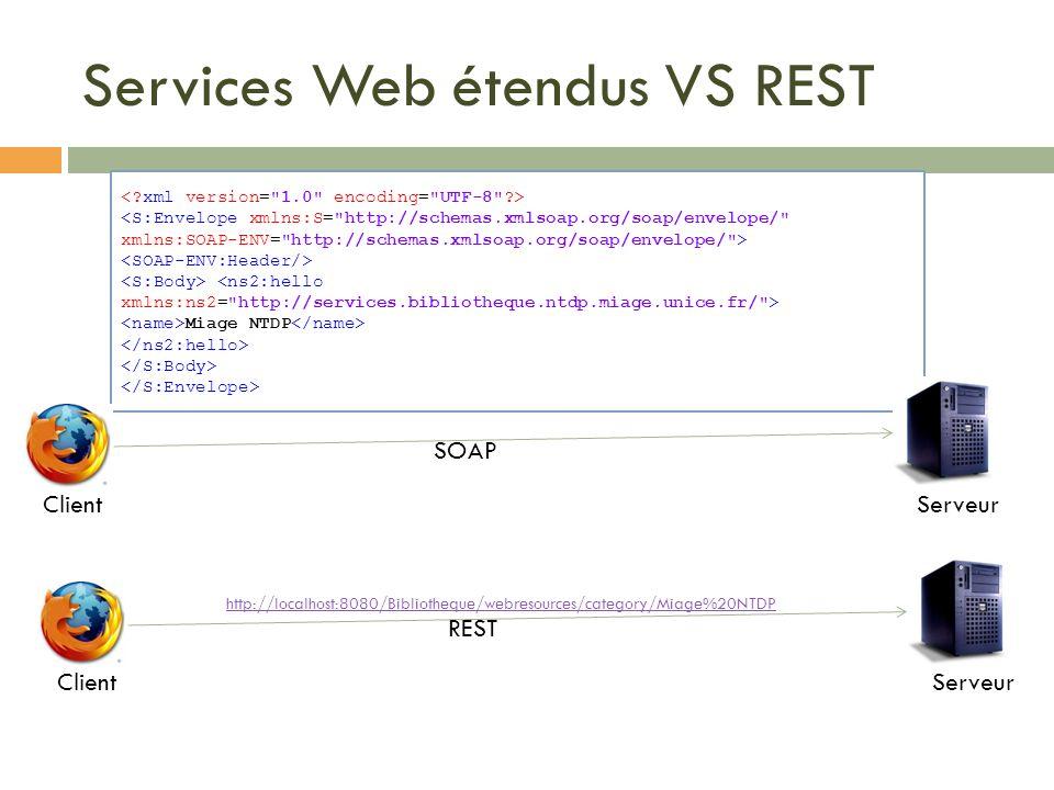 Miage NTDP Services Web étendus VS REST ClientServeur SOAP ClientServeur REST http://localhost:8080/Bibliotheque/webresources/category/Miage%20NTDP