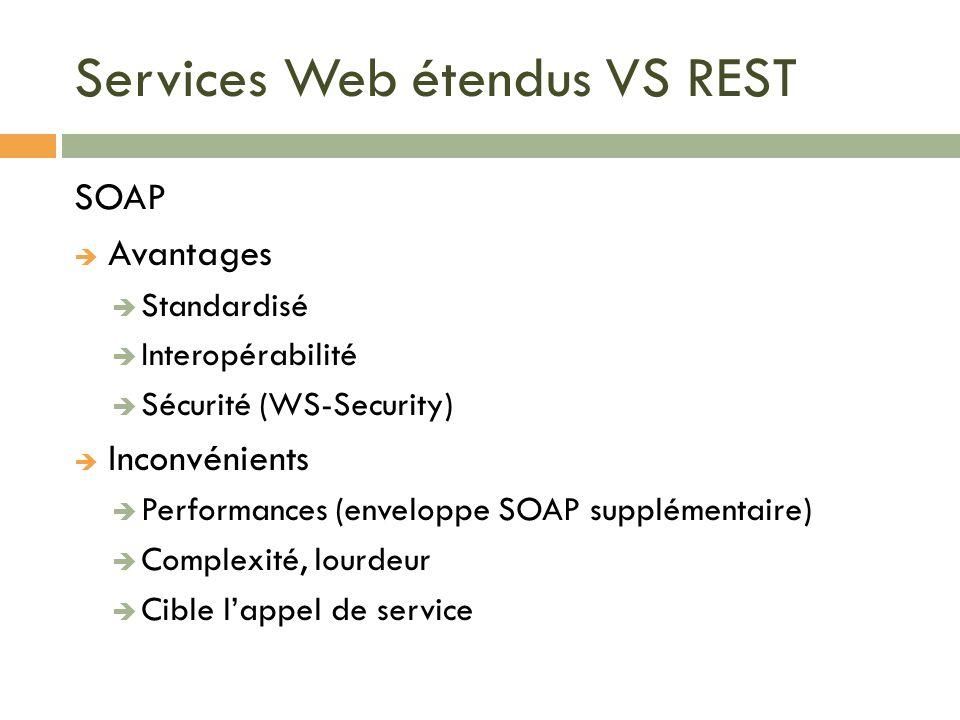 Services Web étendus VS REST SOAP Avantages Standardisé Interopérabilité Sécurité (WS-Security) Inconvénients Performances (enveloppe SOAP supplémenta