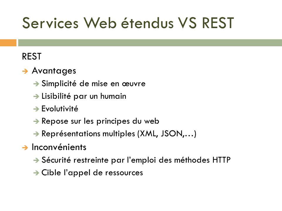 Services Web étendus VS REST REST Avantages Simplicité de mise en œuvre Lisibilité par un humain Evolutivité Repose sur les principes du web Représent