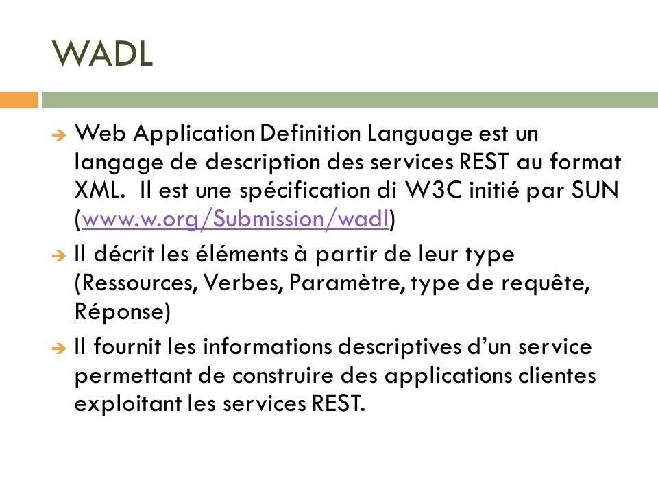 WADL Web Application Definition Language est un langage de description des services REST au format XML. Il est une spécification di W3C initié par SUN