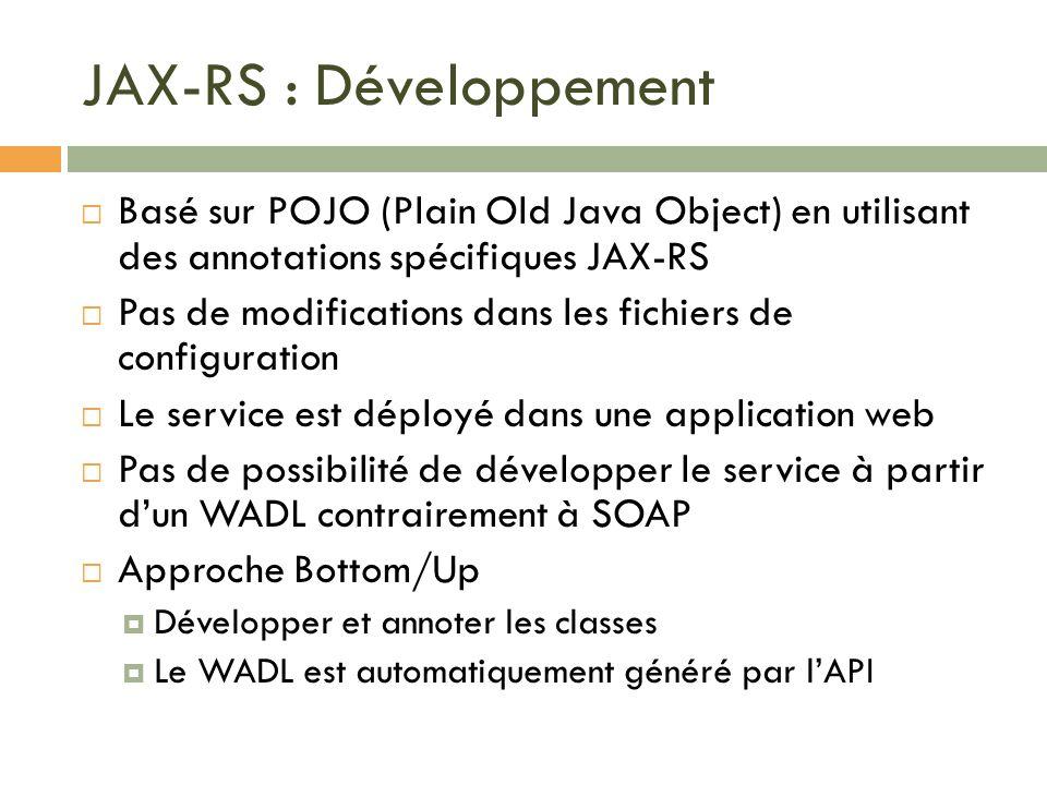 JAX-RS : Développement Basé sur POJO (Plain Old Java Object) en utilisant des annotations spécifiques JAX-RS Pas de modifications dans les fichiers de