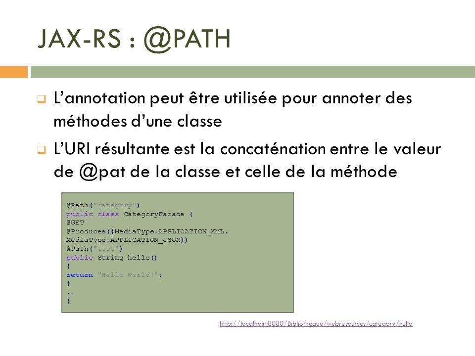 JAX-RS : @PATH Lannotation peut être utilisée pour annoter des méthodes dune classe LURI résultante est la concaténation entre le valeur de @pat de la