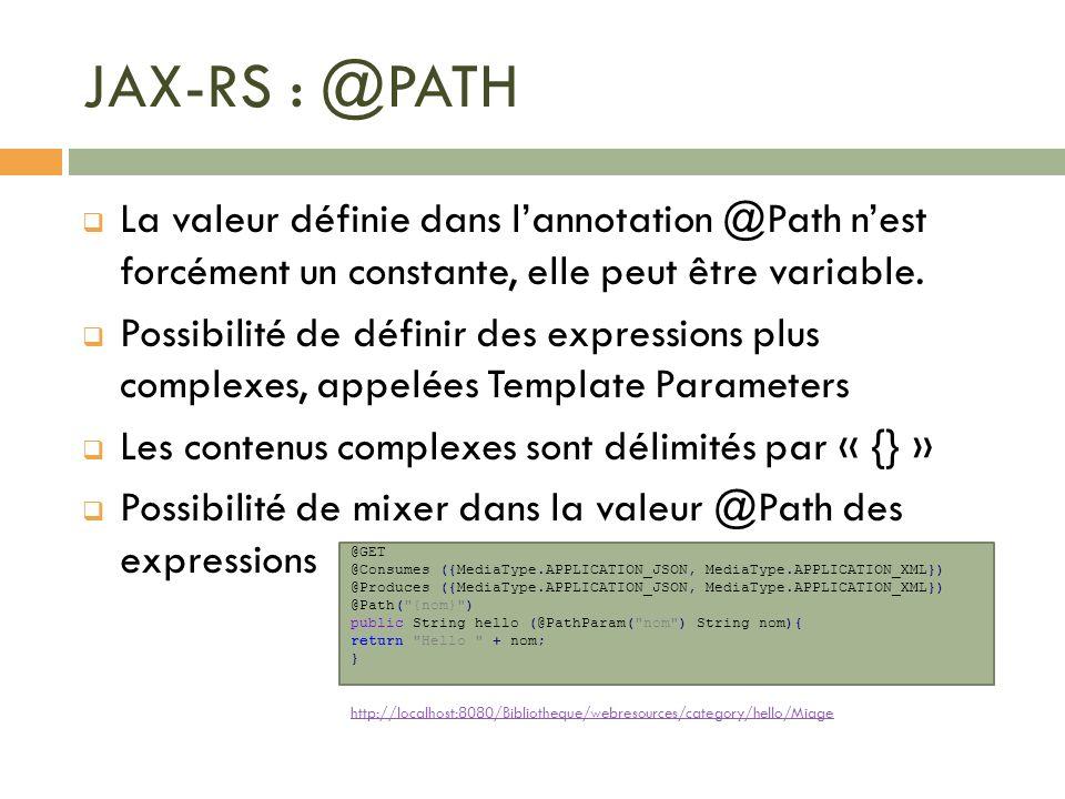 JAX-RS : @PATH La valeur définie dans lannotation @Path nest forcément un constante, elle peut être variable. Possibilité de définir des expressions p