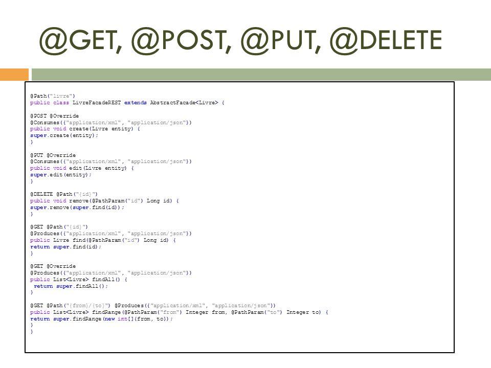 @GET, @POST, @PUT, @DELETE @Path(