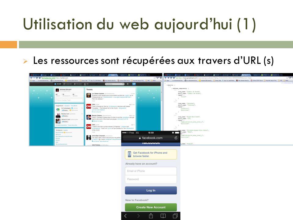 Utilisation du web aujourdhui (1) Les ressources sont récupérées aux travers dURL (s)