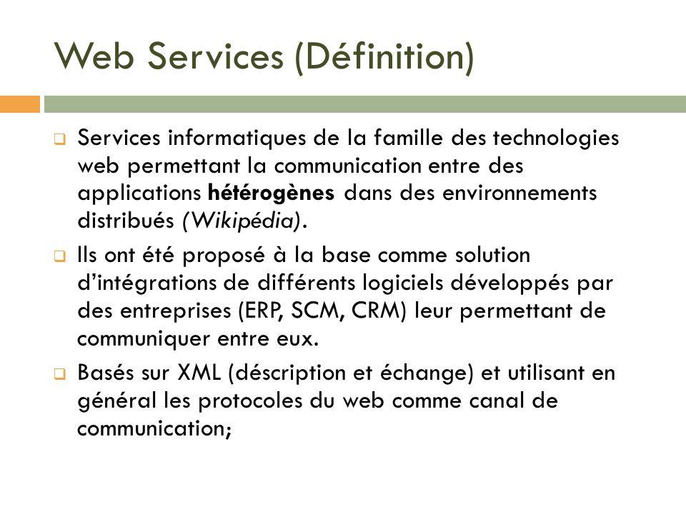 Web Services (Définition) Services informatiques de la famille des technologies web permettant la communication entre des applications hétérogènes dan