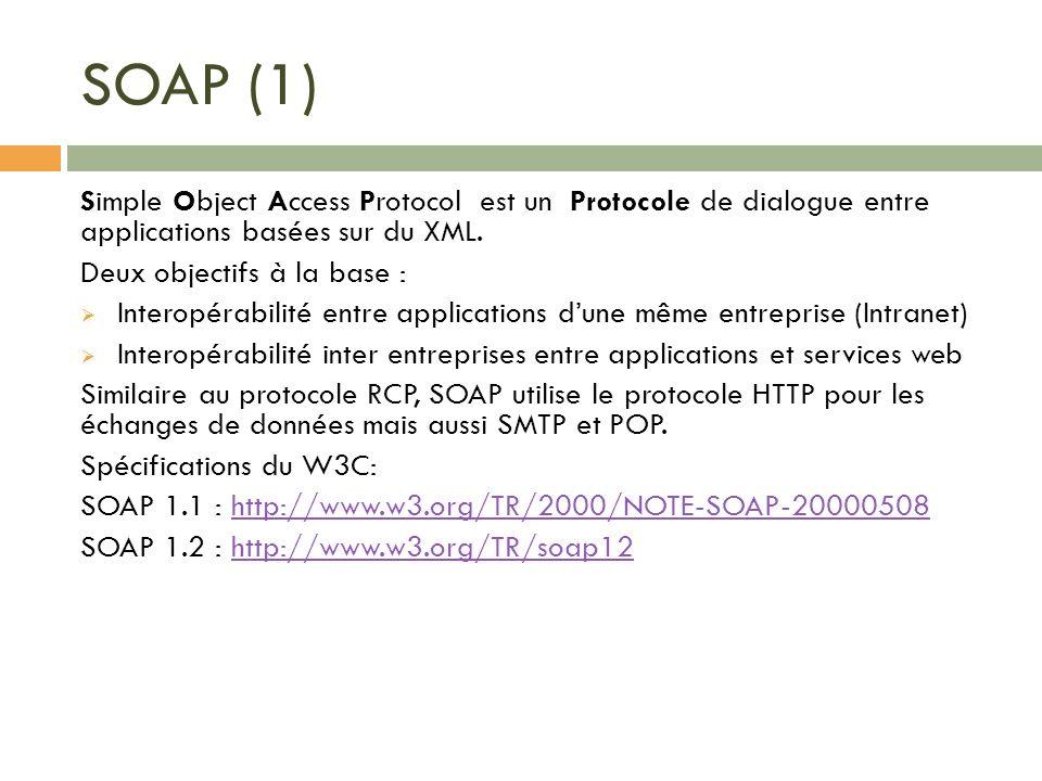 SOAP (1) Simple Object Access Protocol est un Protocole de dialogue entre applications basées sur du XML. Deux objectifs à la base : Interopérabilité