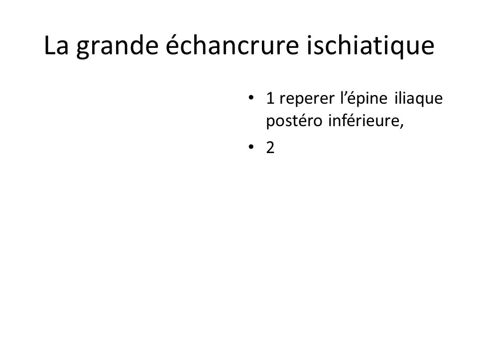 La grande échancrure ischiatique 1 reperer lépine iliaque postéro inférieure, 2
