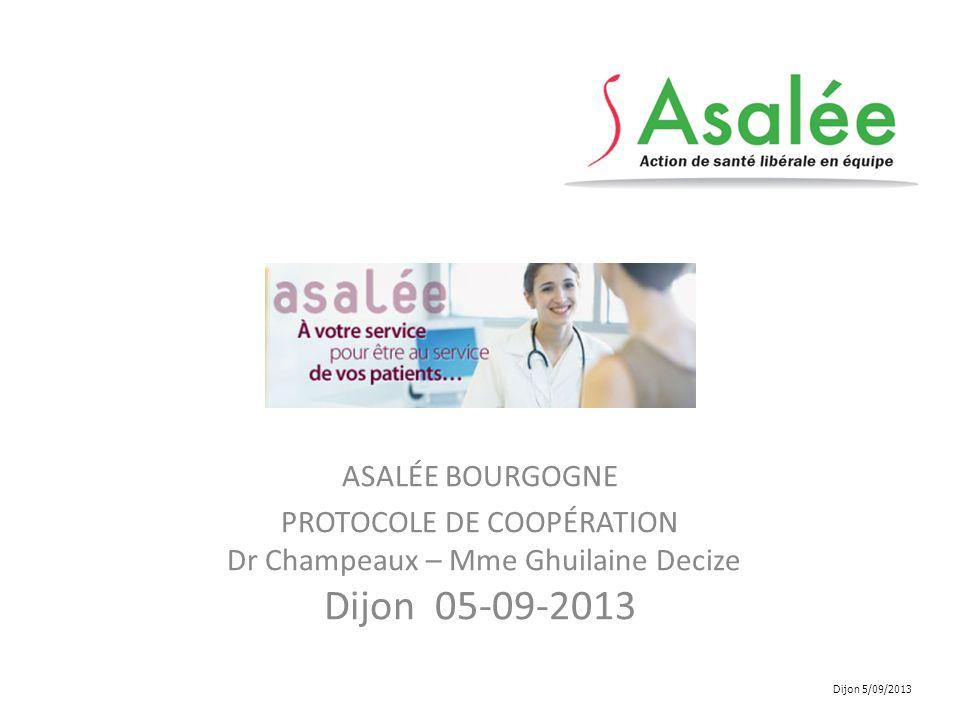 ASALÉE BOURGOGNE PROTOCOLE DE COOPÉRATION Dr Champeaux – Mme Ghuilaine Decize Dijon 05-09-2013 Dijon 5/09/2013