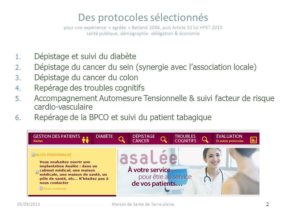 Des protocoles sélectionnés pour une expérience « agréée » Berland 2006, puis Article 51 loi HPST 2010 santé publique, démographie- délégation & écono