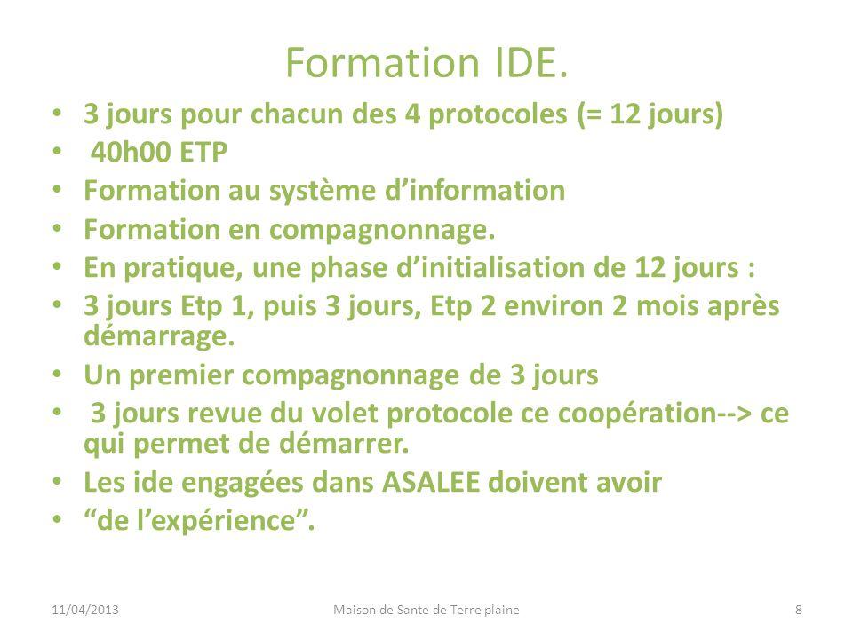 Formation IDE. 3 jours pour chacun des 4 protocoles (= 12 jours) 40h00 ETP Formation au système dinformation Formation en compagnonnage. En pratique,