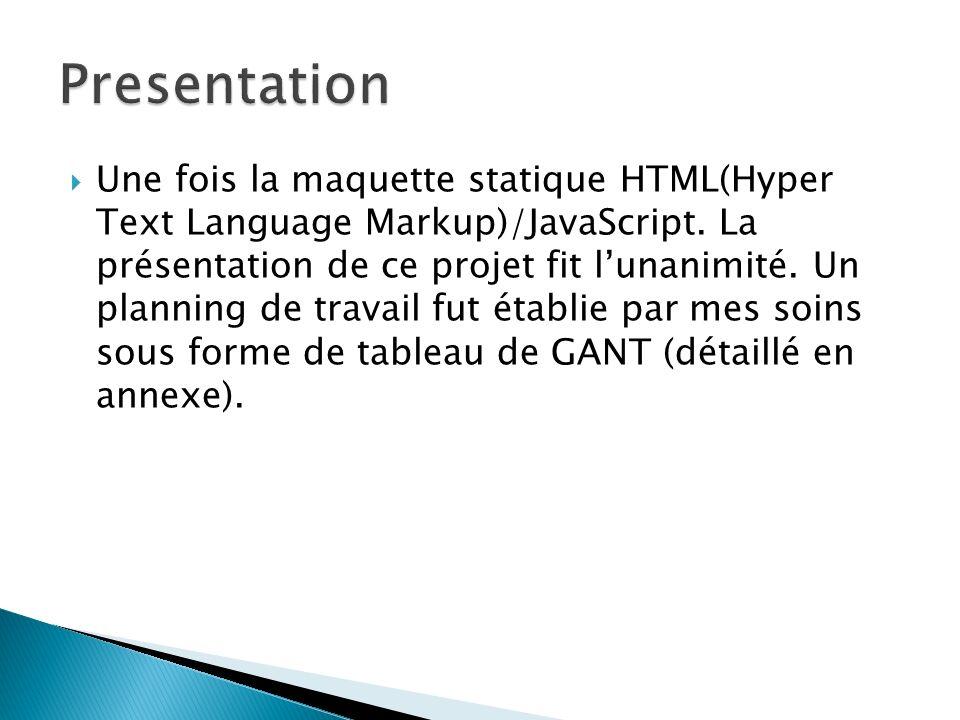 Une fois la maquette statique HTML(Hyper Text Language Markup)/JavaScript. La présentation de ce projet fit lunanimité. Un planning de travail fut éta