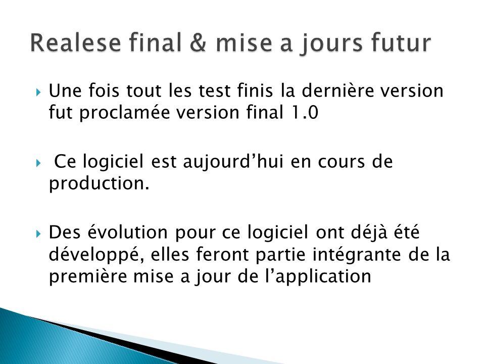 Une fois tout les test finis la dernière version fut proclamée version final 1.0 Ce logiciel est aujourdhui en cours de production. Des évolution pour