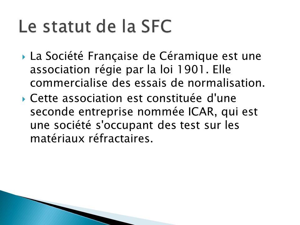 La Société Française de Céramique est une association régie par la loi 1901. Elle commercialise des essais de normalisation. Cette association est con