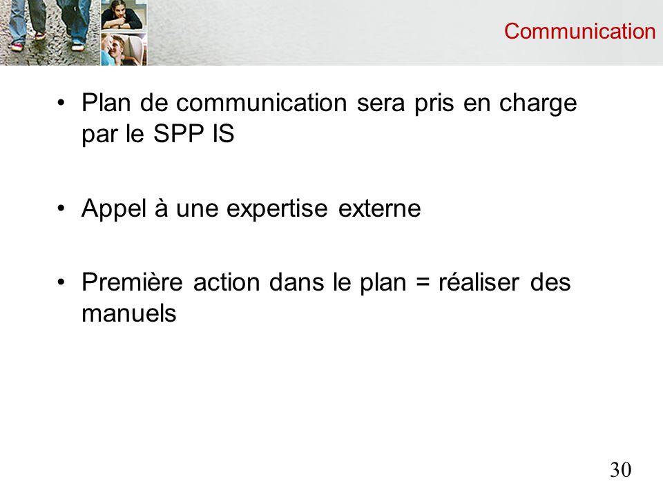 Communication Plan de communication sera pris en charge par le SPP IS Appel à une expertise externe Première action dans le plan = réaliser des manuels 30