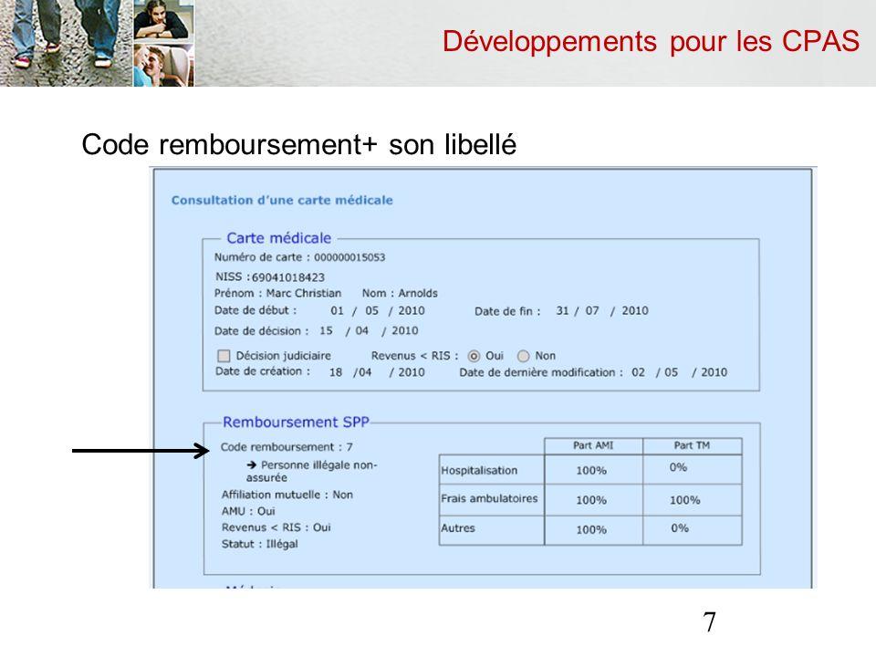Développements pour les CPAS Réponse négative du SPP Is Raisons techniques (par ex.