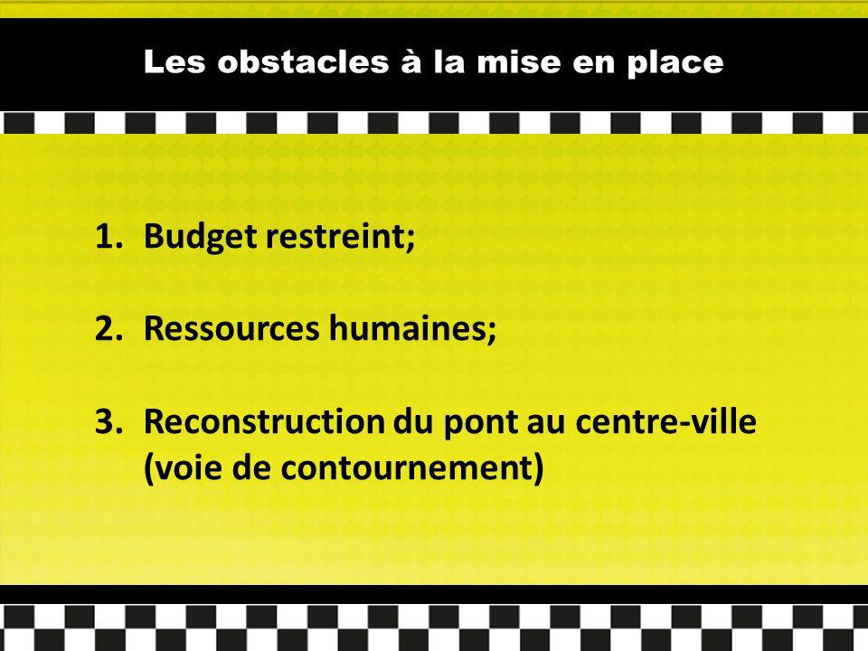 Les obstacles à la mise en place 1.Budget restreint; 2.Ressources humaines; 3.Reconstruction du pont au centre-ville (voie de contournement)